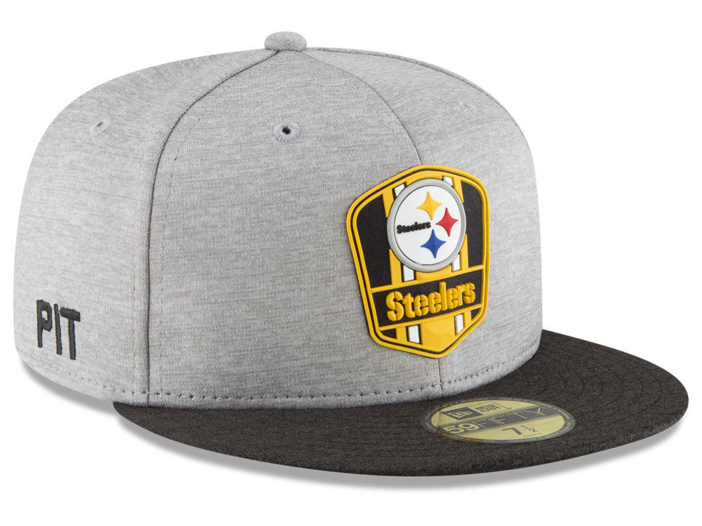 Pittsburgh Steelers New Era 2018 Official NFL Sideline Road 59FIFTY Cap  dbb34b398