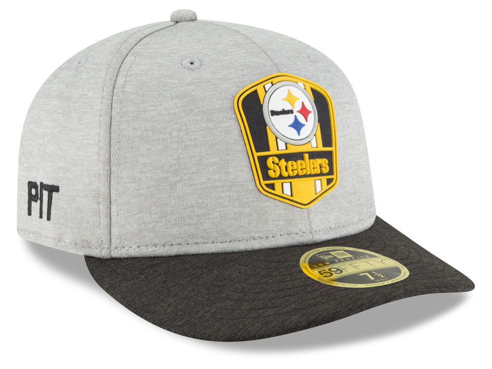 ... half off 4d05c 5238e Pittsburgh Steelers New Era 2018 Official NFL  Sideline Low Profile Road 59FIFTY ... 1d447ee1656