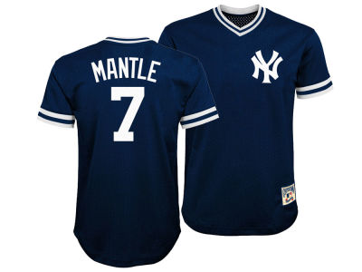 New York Yankees Mickey Mantle Majestic MLB Youth Mesh V-Neck Player Jersey