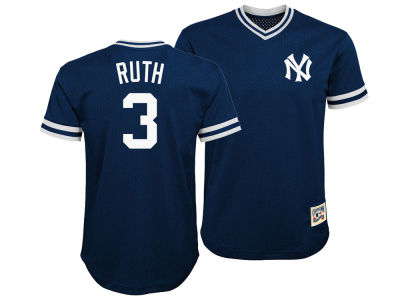 New York Yankees Babe Ruth Majestic MLB Youth Mesh V-Neck Player Jersey