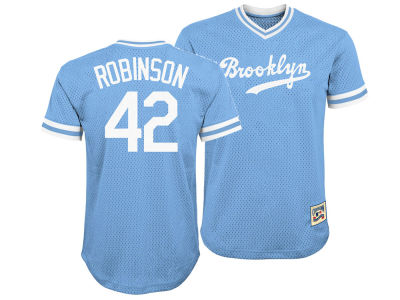 Brooklyn Dodgers Jackie Robinson Majestic MLB Youth Mesh V-Neck Player Jersey