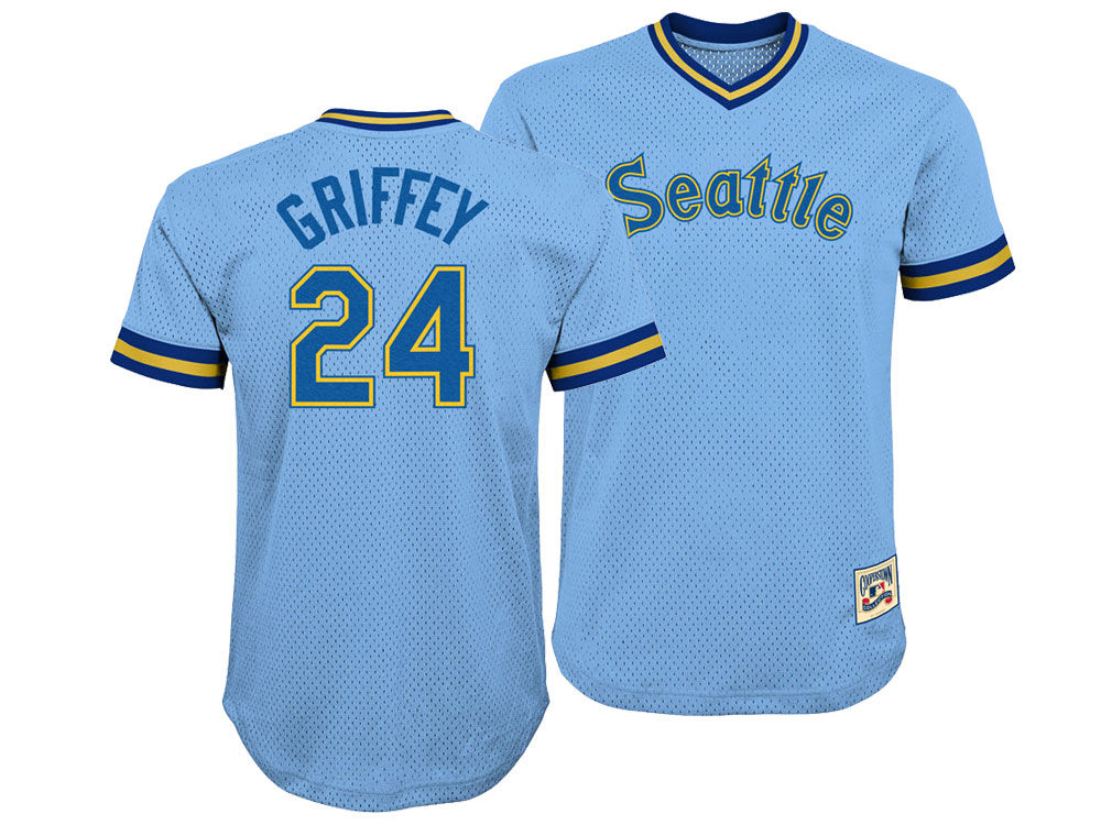 Seattle Mariners Ken Griffey Jr. Majestic MLB Youth Mesh V-Neck Player  Jersey  5c1276a59