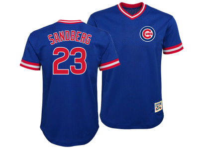 Chicago Cubs Ryne Sandberg Majestic MLB Youth Mesh V-Neck Player Jersey
