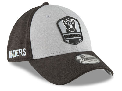 Oakland Raiders New Era 2018 Official NFL Sideline Road 39THIRTY Cap b931c2f4a