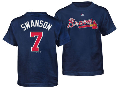 Atlanta Braves Dansby Swanson Majestic MLB Kids Official Player T-Shirt
