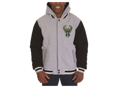 Milwaukee Bucks JH Design NBA Men's Hooded Fleece Reversible Jacket