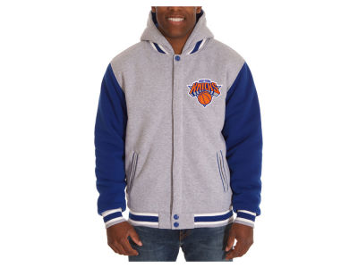 New York Knicks JH Design NBA Men's Hooded Fleece Reversible Jacket