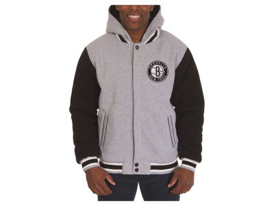 Brooklyn Nets JH Design NBA Men's Hooded Fleece Reversible Jacket