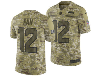 Seattle Seahawks Fan #12 Nike 2018 NFL Men's Salute To Service Jersey