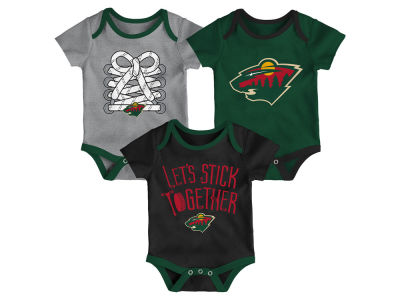 Minnesota Wild Outerstuff NHL Newborn Five On Three Creeper Set
