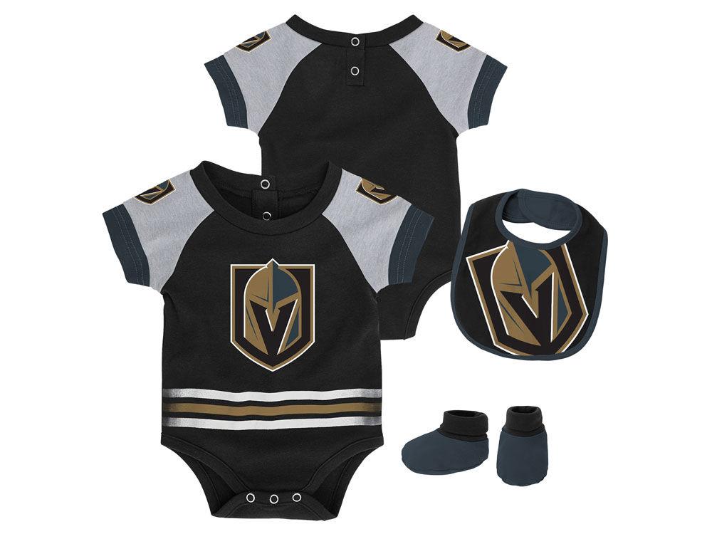906138617 Vegas Golden Knights Outerstuff NHL Newborn Blocker Bib   Bootie Set ...