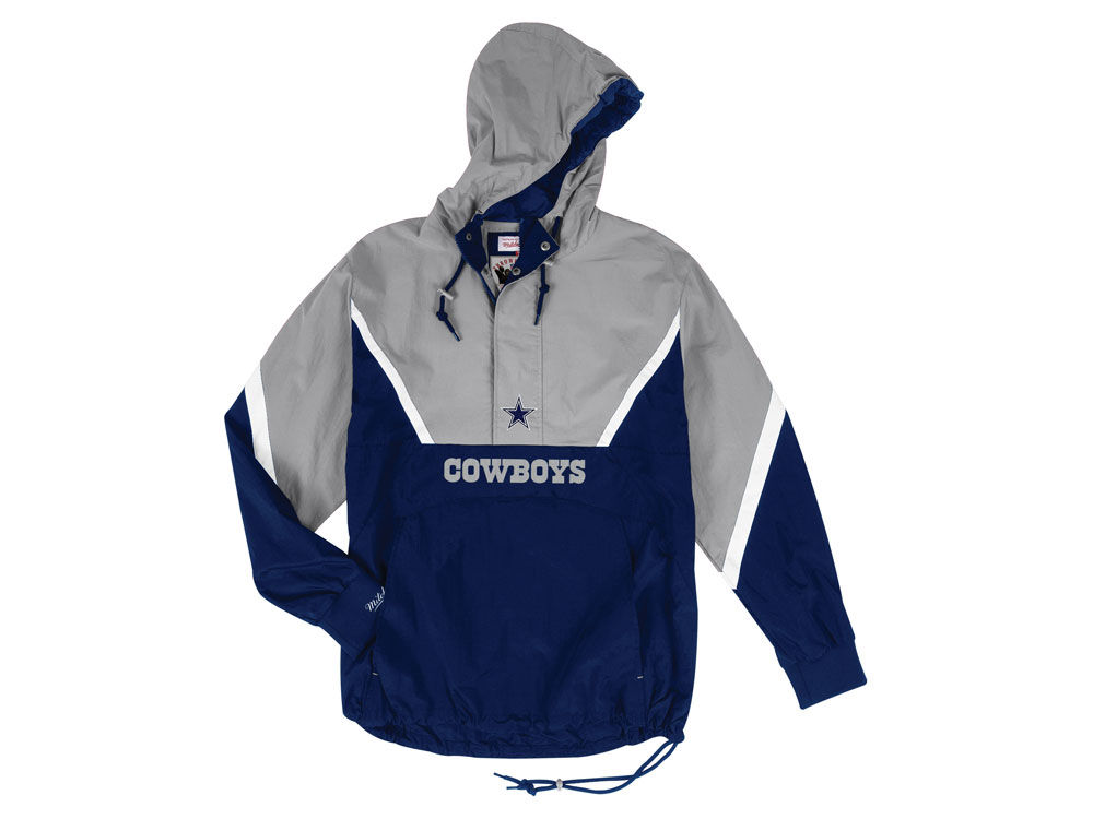 Dallas Cowboys Mitchell   Ness NFL Men s Half Zip Anorak Jacket ... d0d19ec5a