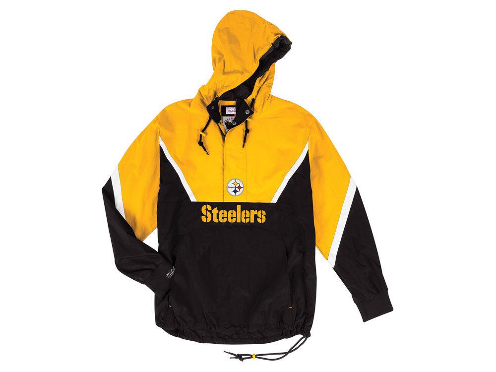 Pittsburgh Steelers Mitchell   Ness NFL Men s Half Zip Anorak Jacket ... d23adf57c