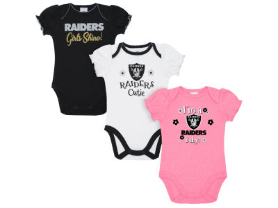 96986730a Oakland Raiders Gerber NFL Newborn Girls 3 Pack Bodysuit