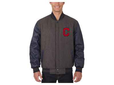 Cleveland Indians JH Design MLB Men's Wool Reversible Leather Sleeve Jacket