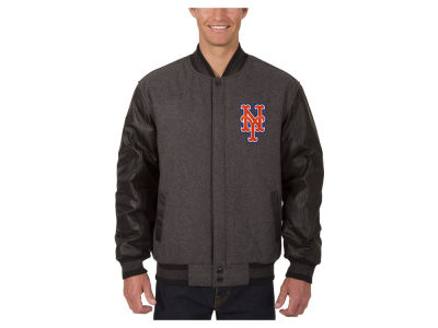 New York Mets JH Design MLB Men's Wool Reversible Leather Sleeve Jacket