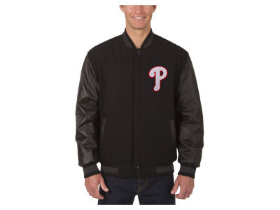 Philadelphia Phillies JH Design MLB Men's Wool Reversible Leather Sleeve Jacket