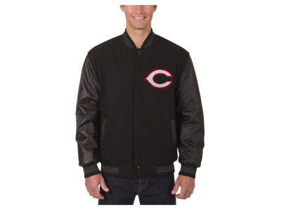 Cincinnati Reds JH Design MLB Men's Wool Reversible Leather Sleeve Jacket
