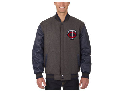 Minnesota Twins JH Design MLB Men's Wool Reversible Leather Sleeve Jacket