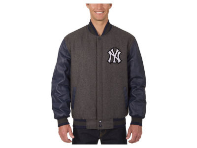 New York Yankees JH Design MLB Men's Wool Reversible Leather Sleeve Jacket