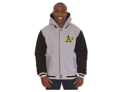 Oakland Athletics JH Design MLB Men's Hooded Fleece Reversible Jacket
