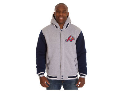 Atlanta Braves JH Design MLB Men's Hooded Fleece Reversible Jacket