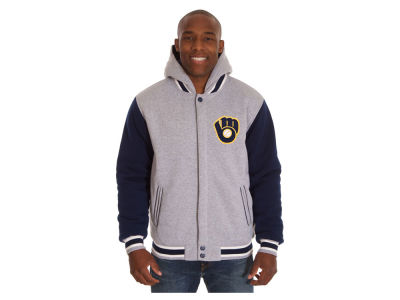 Milwaukee Brewers JH Design MLB Men's Hooded Fleece Reversible Jacket