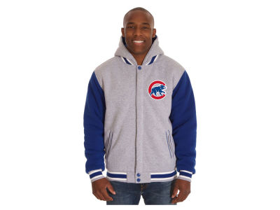 Chicago Cubs JH Design MLB Men's Hooded Fleece Reversible Jacket
