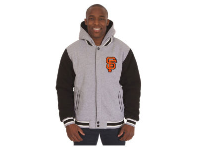 San Francisco Giants JH Design MLB Men's Hooded Fleece Reversible Jacket