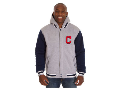 Cleveland Indians JH Design MLB Men's Hooded Fleece Reversible Jacket