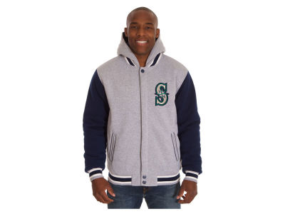 Seattle Mariners JH Design MLB Men's Hooded Fleece Reversible Jacket