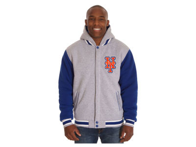 New York Mets JH Design MLB Men's Hooded Fleece Reversible Jacket