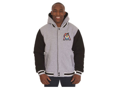 Miami Marlins JH Design MLB Men's Hooded Fleece Reversible Jacket