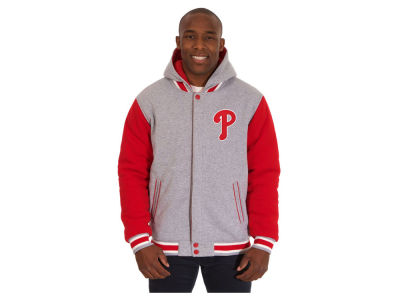 Philadelphia Phillies JH Design MLB Men's Hooded Fleece Reversible Jacket