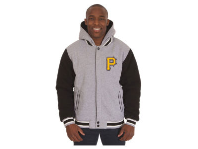 Pittsburgh Pirates JH Design MLB Men's Hooded Fleece Reversible Jacket
