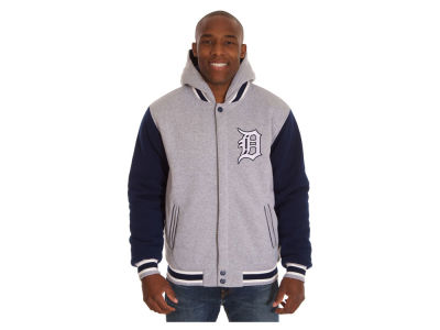Detroit Tigers JH Design MLB Men's Hooded Fleece Reversible Jacket