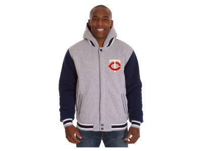 Minnesota Twins JH Design MLB Men's Hooded Fleece Reversible Jacket