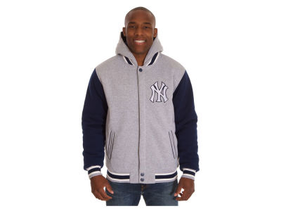 New York Yankees JH Design MLB Men's Hooded Fleece Reversible Jacket