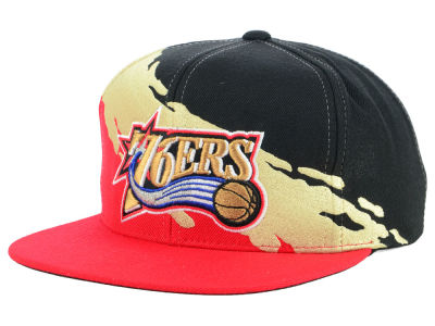Philadelphia 76ers Mitchell   Ness NBA Gold Paint Snapback Cap a4be0442ce6