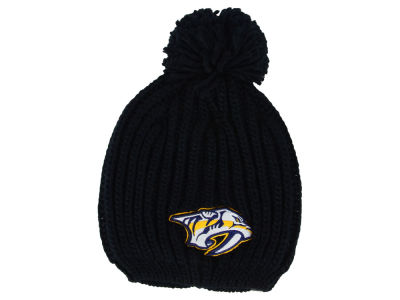 6652d0acf4f801 ... navy block wordmark cuffed knit hat with pom de1cd 36988; coupon for nashville  predators nhl womens iconic knit 76f4a 9ebf7