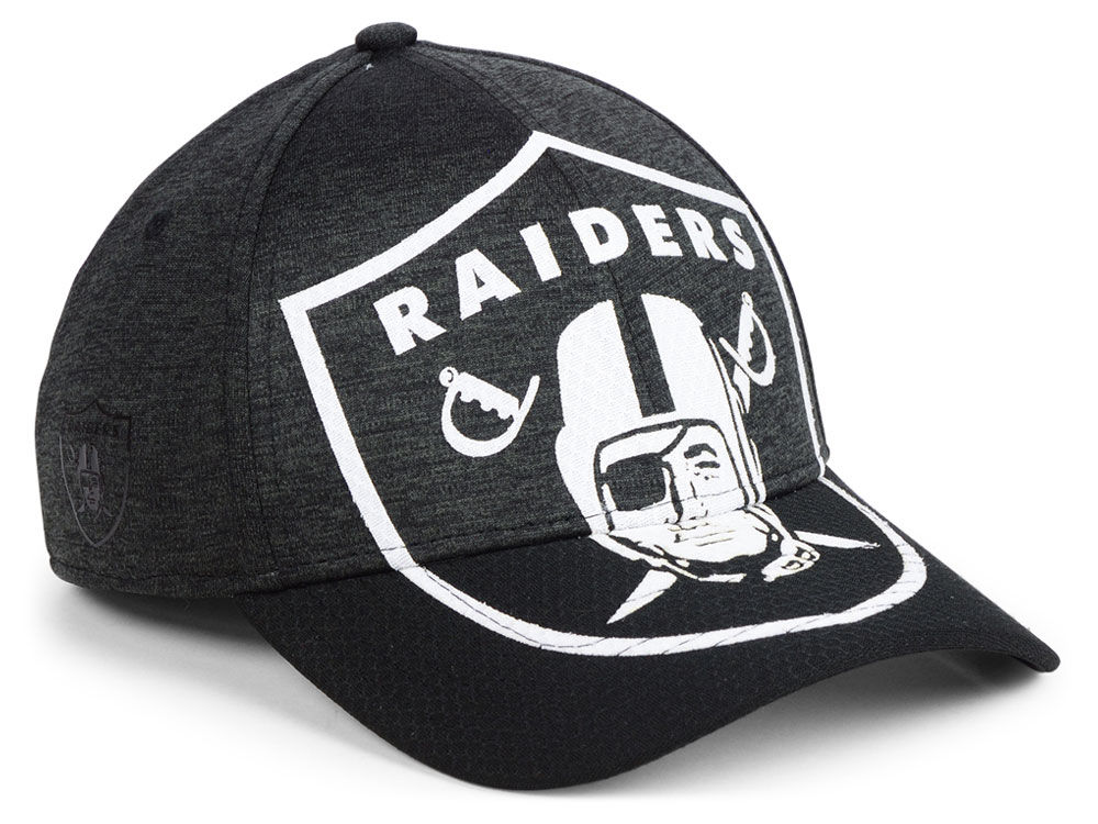 862efad03a0 Oakland Raiders New Era NFL Over Sized Laser Cut Logo 39THIRTY Cap ...