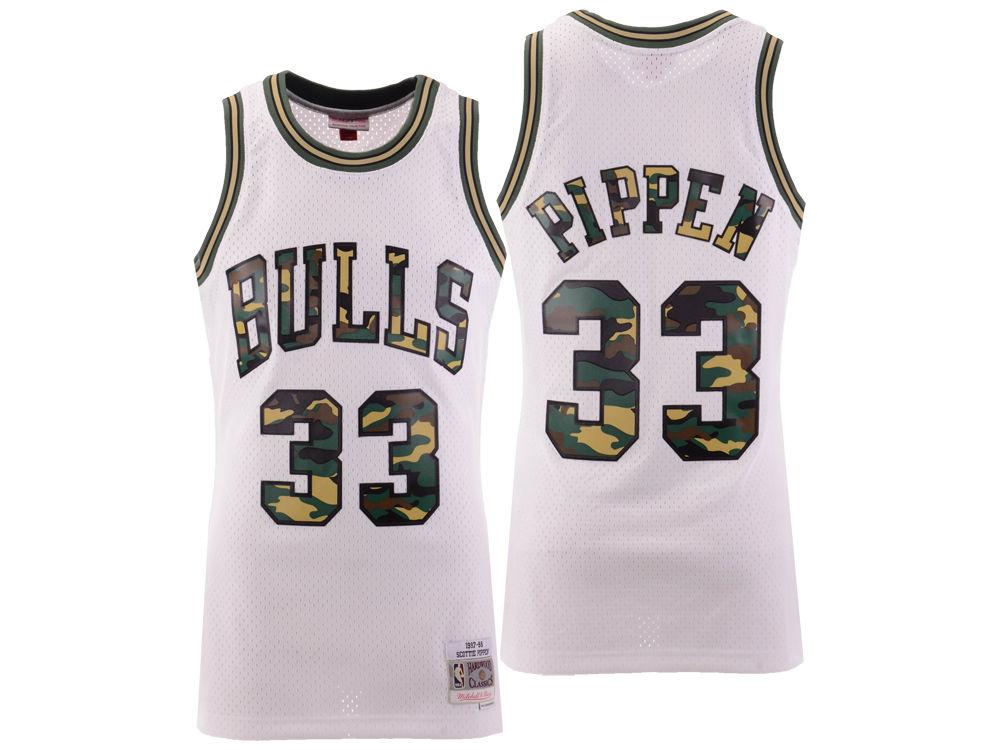 844f02e8fab Chicago Bulls Scottie Pippen Mitchell   Ness NBA Men s Straight Fire Camo  Jersey
