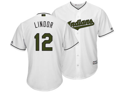 Cleveland Indians Francisco Lindor Majestic MLB Men's Memorial Day Cool Base Jersey