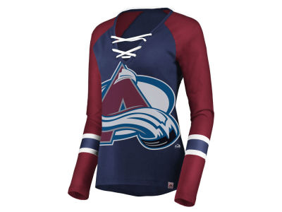 Colorado Avalanche Majestic NHL Women's Lace Up Long Sleeve T-Shirt