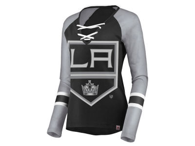 Los Angeles Kings Majestic NHL Women's Lace Up Long Sleeve T-Shirt