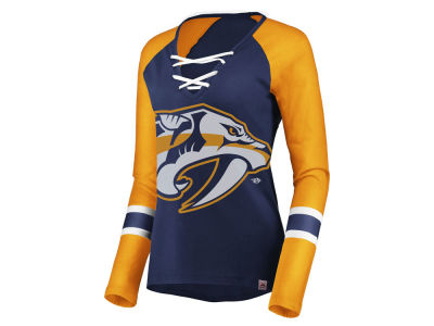 Nashville Predators Majestic NHL Women's Lace Up Long Sleeve T-Shirt
