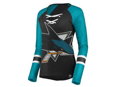 San Jose Sharks Majestic NHL Women's Lace Up Long Sleeve T-Shirt