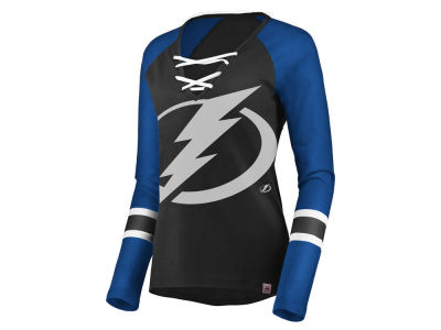 Tampa Bay Lightning Majestic NHL Women's Lace Up Long Sleeve T-Shirt