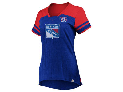 New York Rangers Majestic NHL Women's Hyper V-Neck T- Shirt
