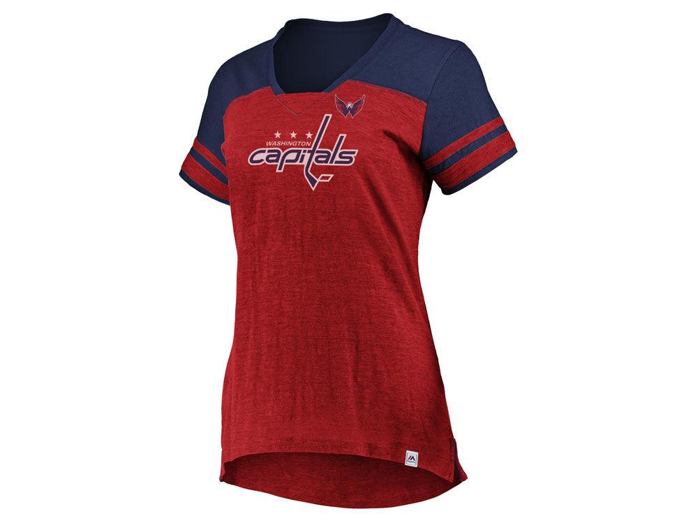 Washington Capitals Majestic NHL Women s Hyper V-Neck T- Shirt ... 6c19ae516